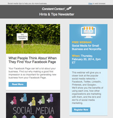 Constant Contact Newsletter