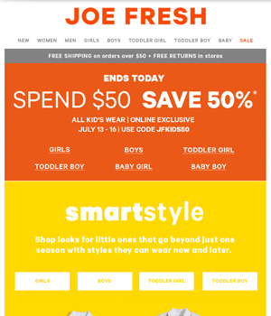 Joe Fresh Newsletter