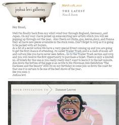 Joshua Levi Galleries Newsletter