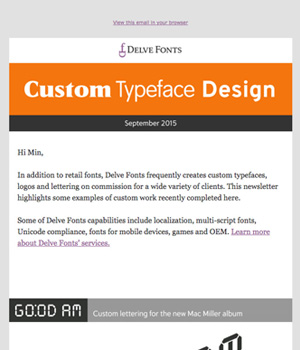Delve Fonts Newsletter
