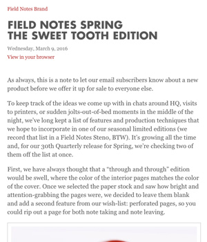 Field Notes Newsletter
